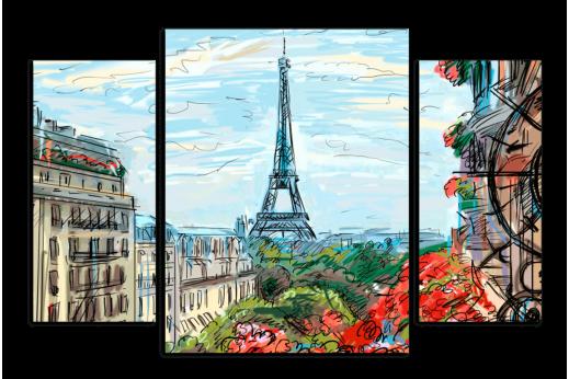 Модульная картина Рисунок Парижа