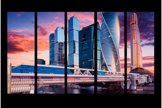 Модульная картина Москва-Сити на закате